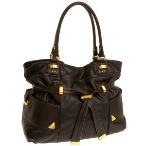 B Makowsky Leather Rich Brown Leather Handbag Tote
